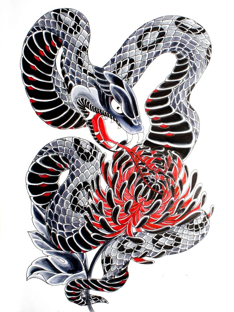 Эскиз татуировки змеи