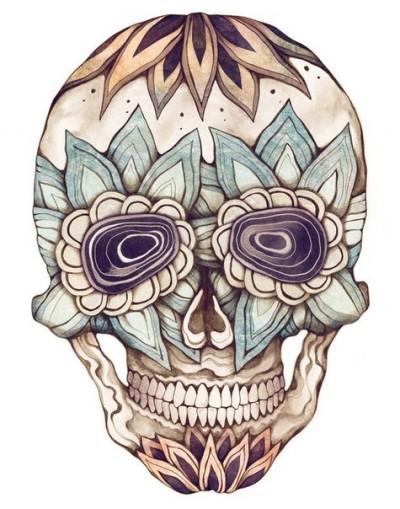 Цветной эскиз татухи с изображением черепа