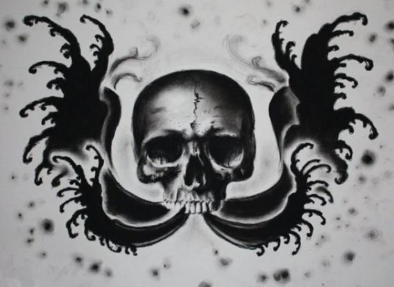 Черно белый эскиз тату с цветами: Черно-белый эскиз тату - изображение черепа