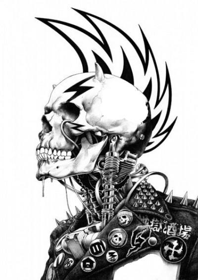 Эскиз татухи изображение черепа