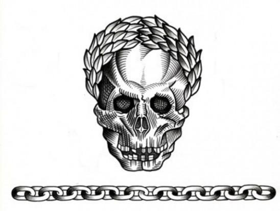 Черно-белый эскиз татушки в виде черепа