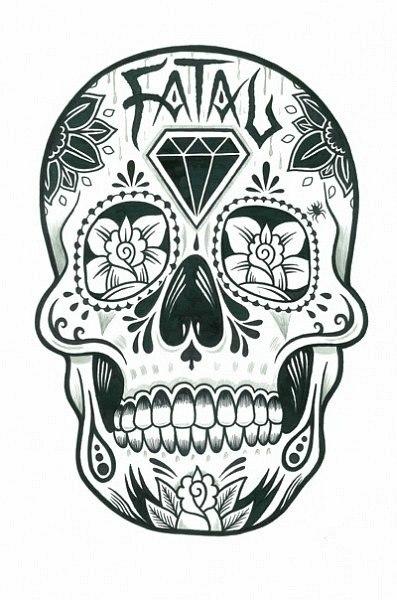 Эскиз тату - изображение черепа и цветов