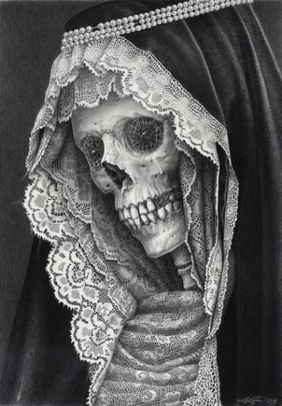 Тату изображение черепа и цветов