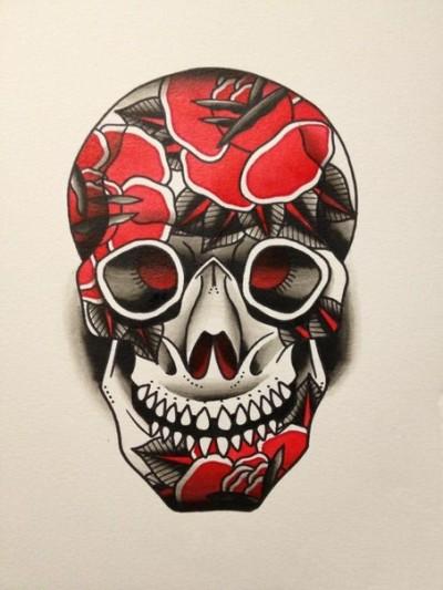 Эскиз тату в виде черепа