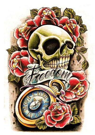Цветной эскиз тату в виде черепа, часов и роз | Татуировку .РФ ...