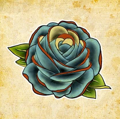 Цветной эскиз тату - цветок синей розы