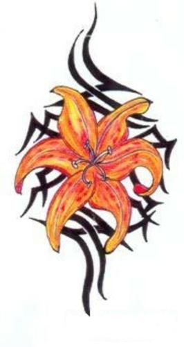 Цветной эскиз тату - оранжевая лилия