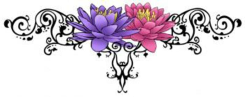 Цветной эскиз тату - цветы лотоса с узором