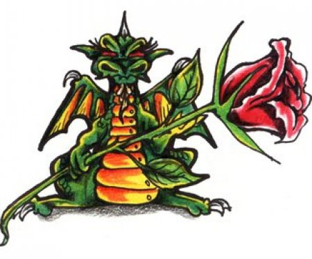 Цветной эскиз тату - цветок красной розы и дракон