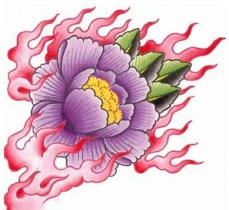 Цветной эскиз тату - лотос