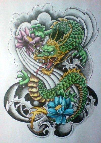Эскиз тату - дракон и цветы