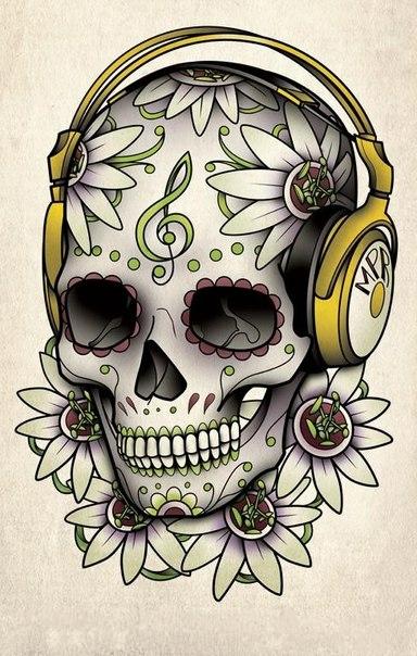 Эскиз тату - череп, цветы пассифлоры и скрипичный ключ