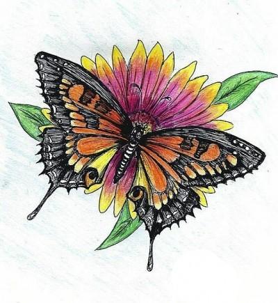 Цветной эскиз татушки - бабочка на цветке