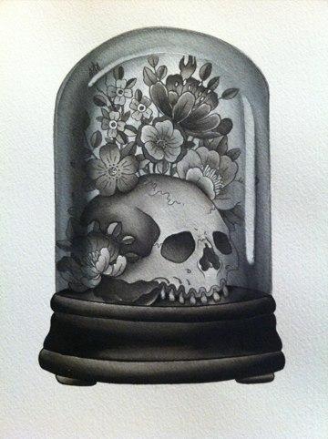 Эскиз тату - череп с цветами