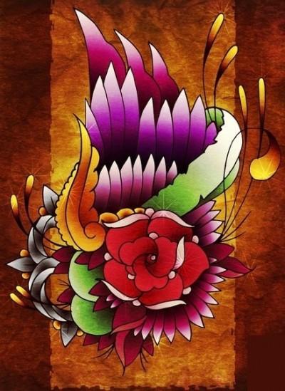 Цветной эскиз тату - роза с перьями