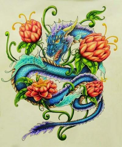 Эскиз тату с изображением дракона и цветов