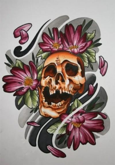 Цветной эскиз татухи в виде черепа и цветов