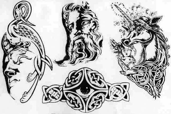 Эскиз кельтской татухи орнамент