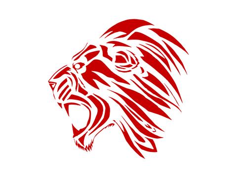 Эскиз татуировки: Красная голова льва