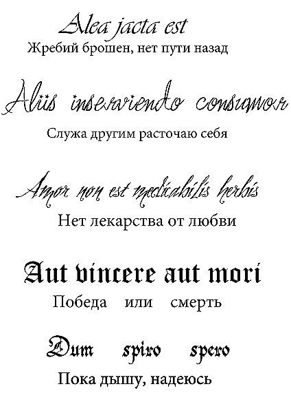 Надпись на латыни с переводом для тату