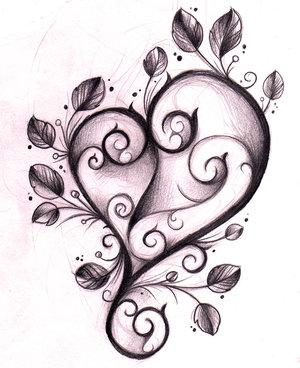 Эскиз татуировки сердце с узорами и