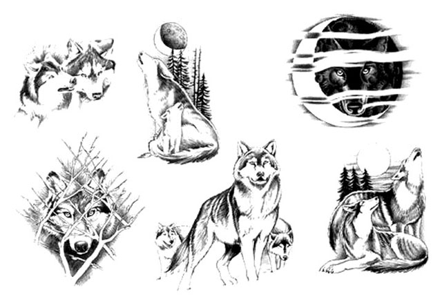 Эскиз татуировки волк 12 вверх эскиз