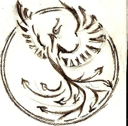 Эскиз тату феникс и дракон вверх эскиз