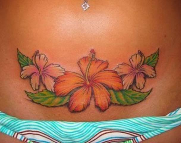 Татуировка с Гибискусом, значение татуировки Гибискус - гавайский цветок, фото тату Гибискус, Hibiscus Flowers Tattoos