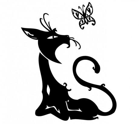 татуировки эскизы кошки: