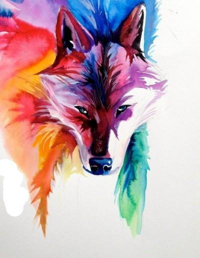 Красивый цветной эскиз тату - лиса