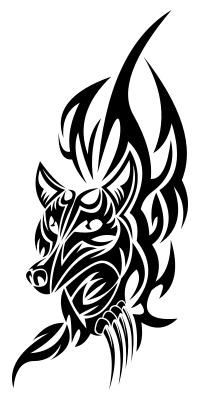 Черно-белый эскиз тату лисы в виде узоров