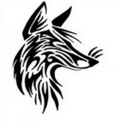 Черно-белый эскиз тату в виде головы лисы