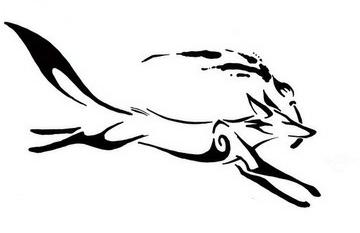 Черно-белый эскиз тату в виде бегущей лисы