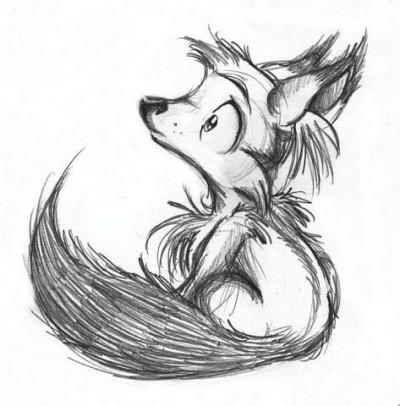 Черно-белый эскиз тату - лисенок