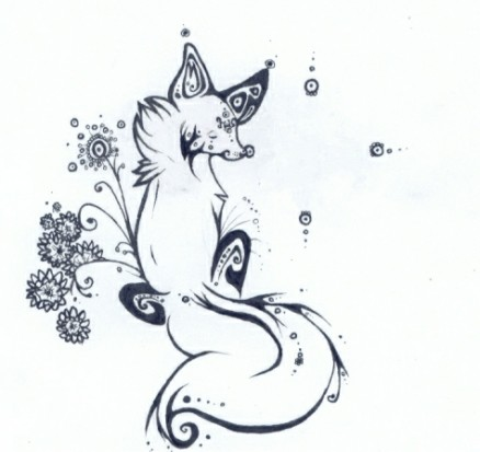 Черно-белый эскиз тату - лиса с цветами