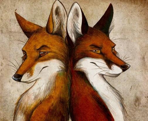 Цветной эскиз тату в виде пары лис