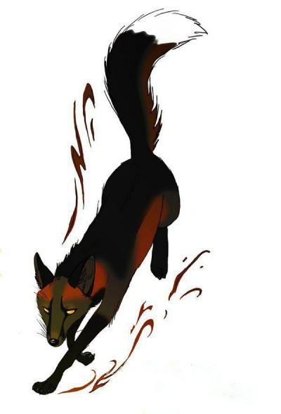 Цветной эскиз тату в виде бегущей лисы