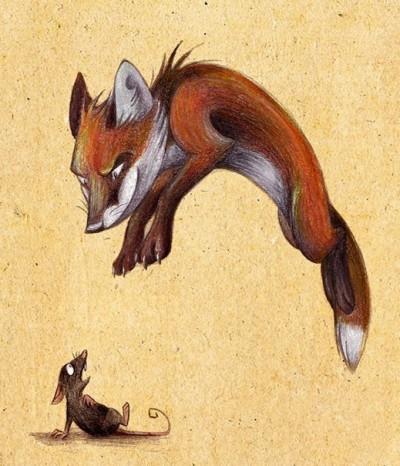 Цветной эскиз тату - лиса и мышка