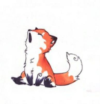 Цветной эскиз тату - зевающий лисенок