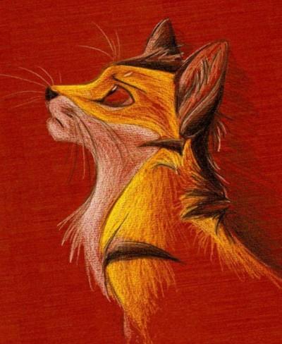 Цветной эскиз тату - грустный лисенок
