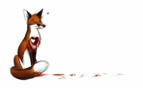 Цветной эскиз тату - грустная лиса