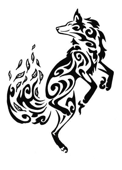 Красивый эскиз тату - танцующая лиса