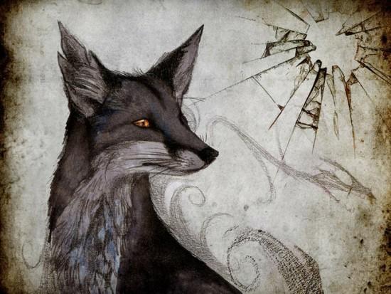 Эскиз тату в виде лисы