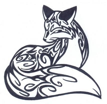 Черно-белый эскиз татушки лисы