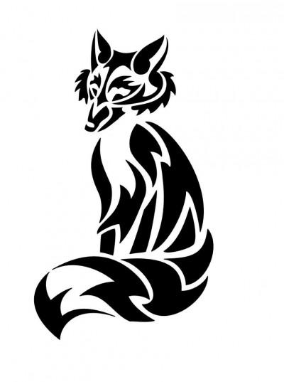 Черно-белый эскиз татушки в виде лисы