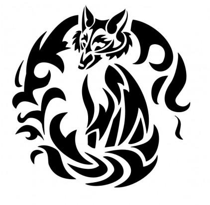 Черно-белый эскиз татуировки - лиса