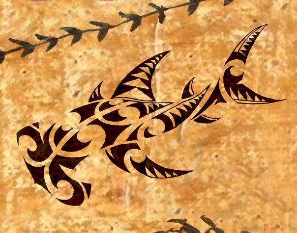 Эскиз тату полинезия рыба-молот