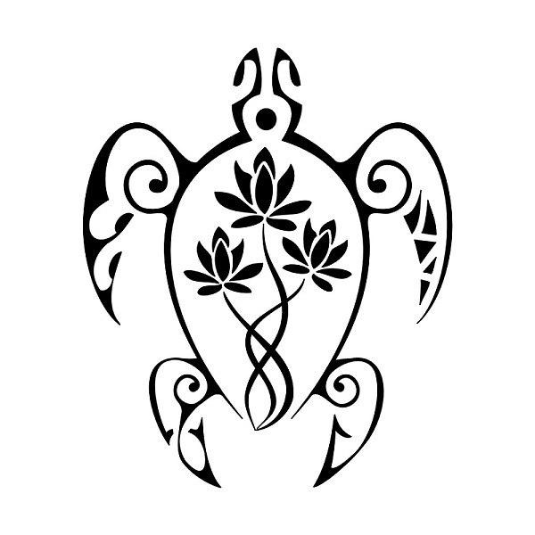 Эскиз татуировки черепаха с лотосами