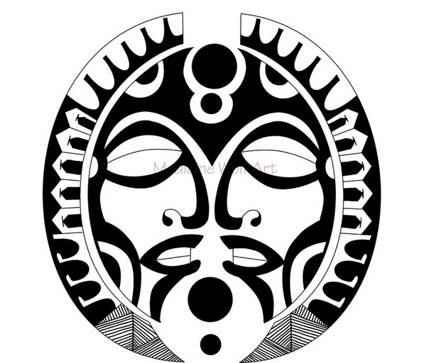 Эскиз тату полинезия Маски
