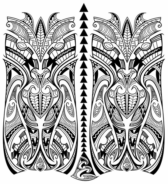 Эскиз татуировки в стиле полинезия